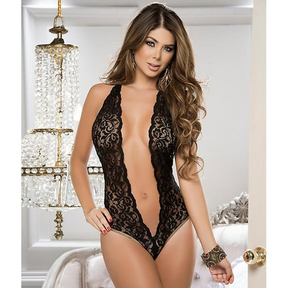 SpendWithJen Other - Goddess Black Lace Plunging Halter Teddy Lingerie